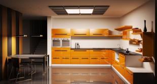 Nowoczesne meble kuchenne w pomarańczy