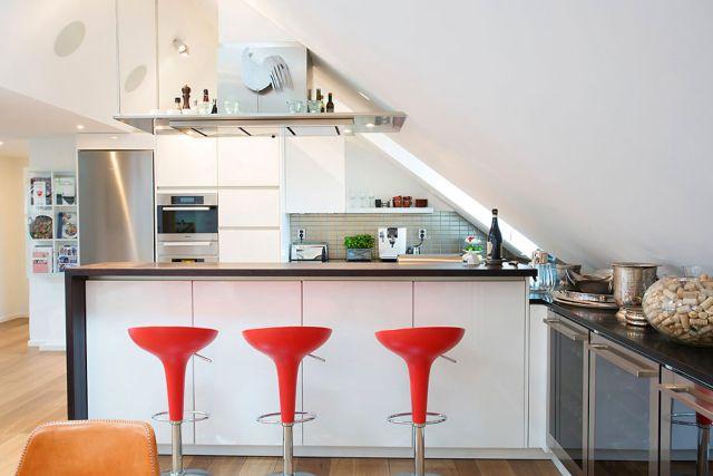 Magia poddasza  aranżacje kuchni, salonu, i łazienki  -> Salon Kuchnia Na Poddaszu