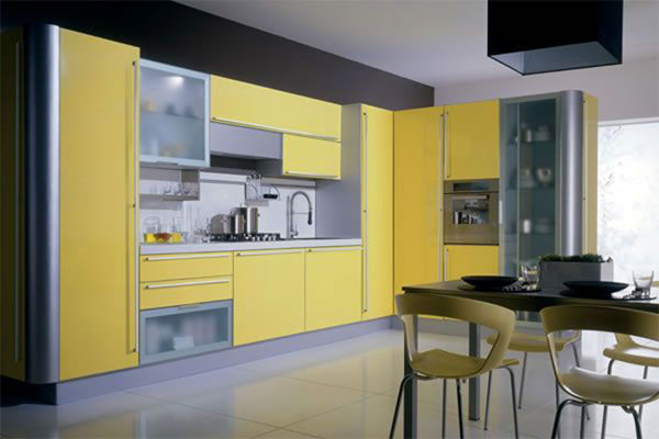 Żółte meble kuchenne