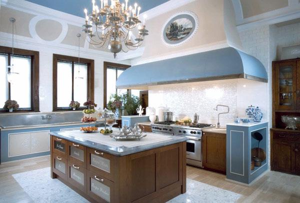 Brąz z błękitem w kuchni